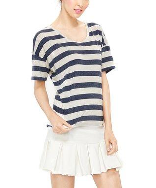 Amour Vert Navy & Ivory Brea Silk Button-Up Dress