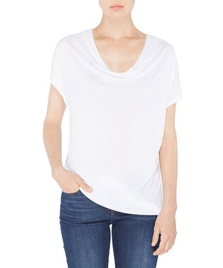 Amour Vert White Norma Cowl Neck Top