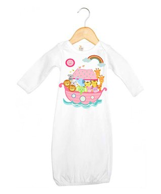White & Pink Noah's Ark Gown - Infant