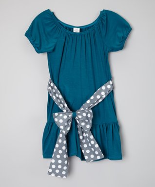 Blue & Gray Bow Top - Infant, Toddler & Girls