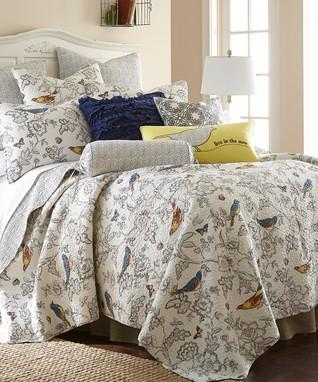 Gray Mockingbird Quilt Set