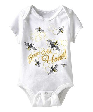 White 'Sweet As Honey' Bees Bodysuit - Infant