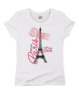 White 'From Paris With Love' Crewneck Tee