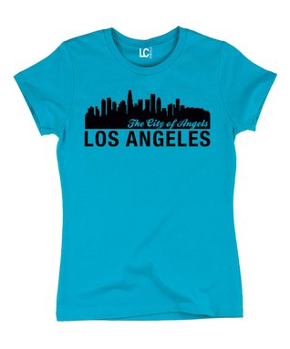Turquoise 'Los Angeles - The City of Angels' Crewneck Tee