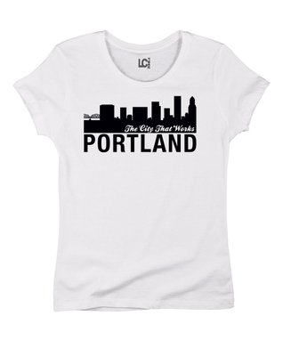 White 'Portland - The City That Works' Crewneck Tee