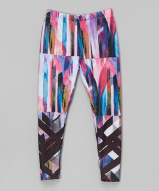 Pink & Blue Pastel Abstract Panel Leggings - Infant & Girls