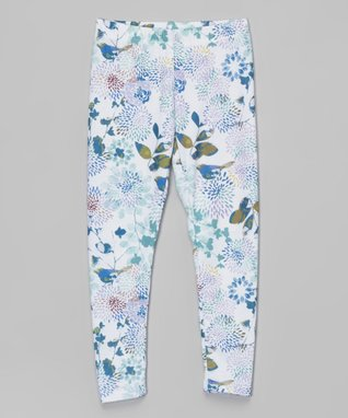 White & Blue Mum Flower Leggings - Infant, Toddler & Girls