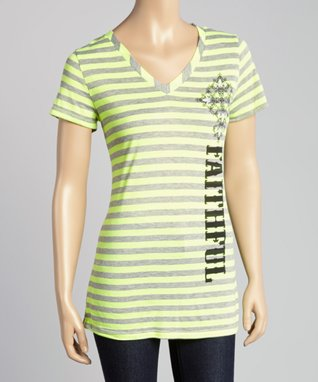 Katydid Collection Yellow 'Faithful' V-Neck Tee - Women & Plus