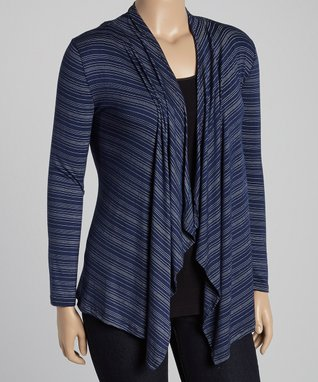 Diva Fashions Blue Stripe Open Cardigan - Women