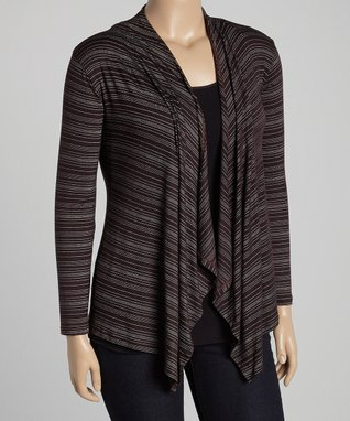 Diva Fashions Black Stripe Open Cardigan - Women