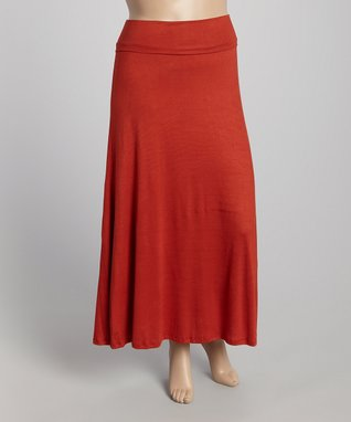 Diva Fashions Rust Maxi Skirt - Women