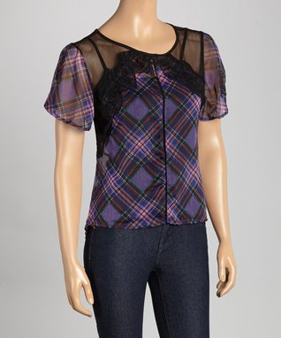 Peppe Peluso Studio Yellow Sheer Plaid Lace-Stripe Top - Women