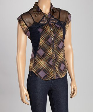 Peppe Peluso Studio Purple Sheer Plaid Lace-Stripe Top - Women