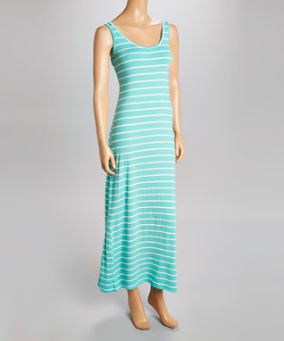 Heart & Hips Midnight & White Stripe Sleeveless Maxi Dress - Women