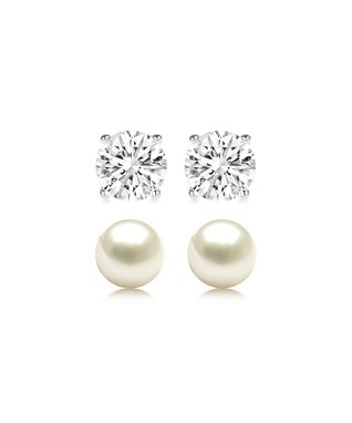 Regal Jewelry White & Black Cubic Zirconia Stud Earrings Set