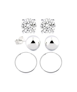 Regal Jewelry Cubic Zirconia, Freshwater Pearl & Sterling Silver Earrings Set