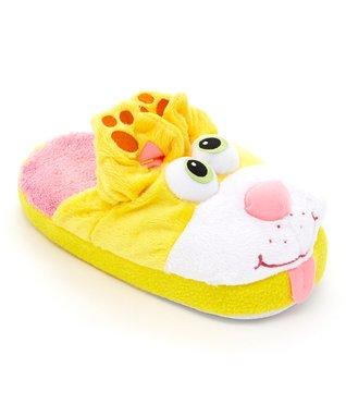 Stompeez Yellow Peek-A-Boo Kitty Fleece Slipper