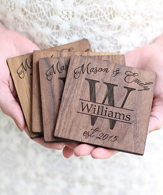 Authentic Dark Personalized Walnut Coasters - Set of Four