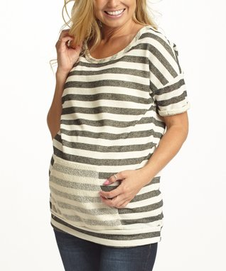 PinkBlush Mint & Black Stripe Maternity Scoop Neck Top - Women