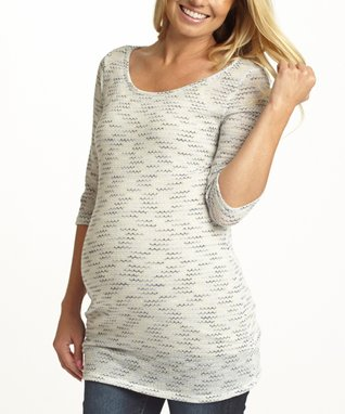 PinkBlush Shades of Blue Space-Dye Maternity Top - Women