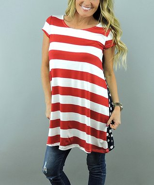 Coco and Main Ivory & Red Stripe Freedom Tunic