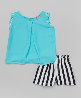 Turquoise Top & Stripe Shorts - Infant & Girls