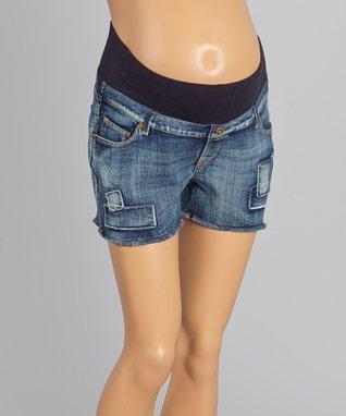 Oh! Mamma Light Wash Patch Maternity Denim Shorts - Women