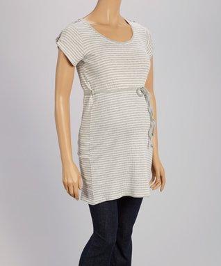 Oh! Mamma Gray & White Stripe Drawstring Maternity Tunic - Women