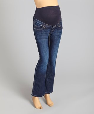 Oh! Mamma Dark Wash Over-Belly Maternity Bootcut Jeans - Women