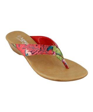 Agape Red Herringbone Initial Sandal