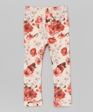 Cream Floral Leggings - Infant & Toddler