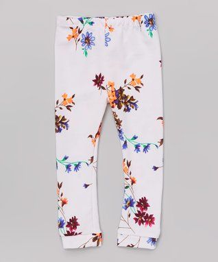 White Floral Leggings - Infant & Toddler