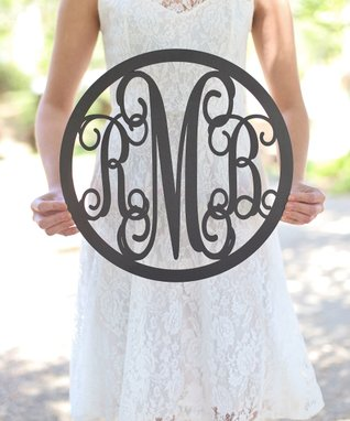 Unfinished Wood Rustic Chic Monogram Family Wall Sign