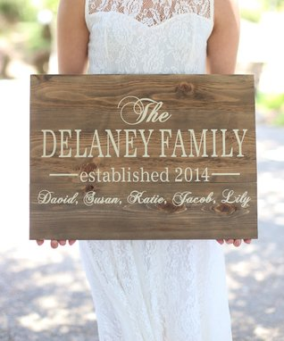 Walnut & Cream Personalized Family Sign