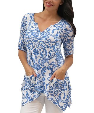 Caite Blue Floral Embroidered Liliana Tunic