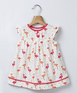 Off-White & Pink Crane A-Line Dress - Infant & Toddler