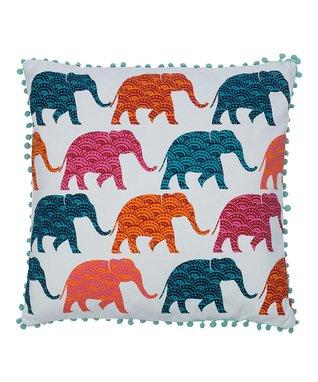 Karia Elephants multi color pom pom pillow