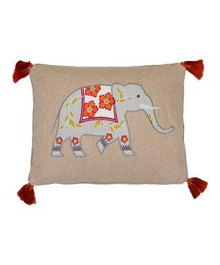 Karia Elephant on Burlap with orange tassels