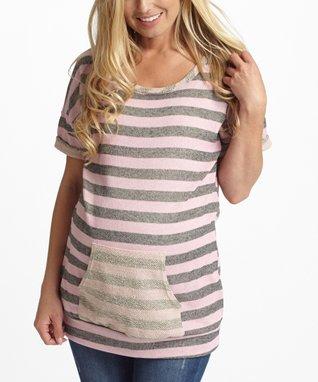 PinkBlush Fuschia & Gray Open Back Maternity Tank - Women