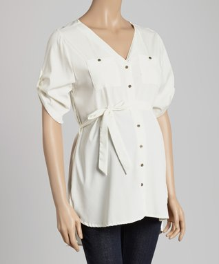Oh! Mamma Off-White Maternity Button-Up Top - Women