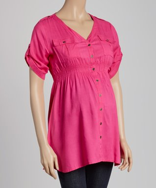 Oh! Mamma Magenta Maternity Button-Up Top - Women