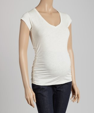 Mom & Co. Teal Ruched Maternity Burnout Tee