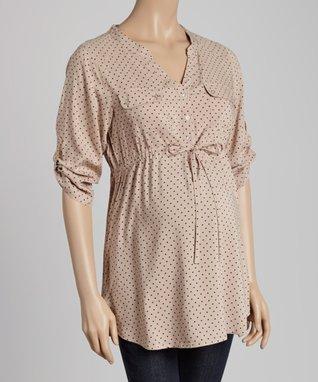 Mom & Co. Fuchsia & Gray Stripe Ruched Maternity V-Neck Tee - Women