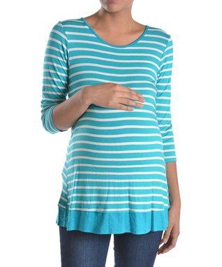 Chris & Carol Coral Stripe Button-Back Maternity Tee - Women