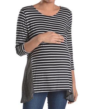 Chris & Carol Black & White Patch-Pocket Maternity Tee - Women