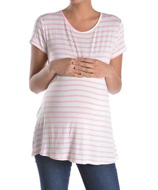 Chris & Carol Pink Button-Back Maternity Cap-Sleeve Tee - Women