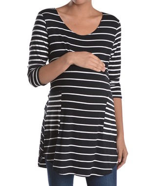 Mom & Co. Green Sublimation Maternity Scoop Neck Top - Women