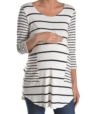 Chris & Carol White & Black Patch-Pocket Maternity Tee - Women