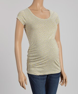 Oh! Mamma White Ruched Maternity V-Neck Tee - Women