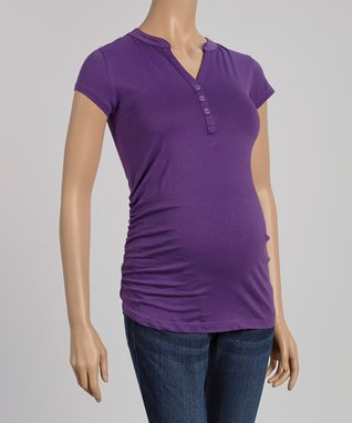Mom & Co. Purple Ruched Maternity Henley Top - Women